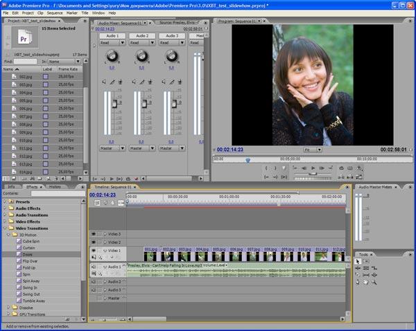 Рабочее окно Adobe Premiere CS3