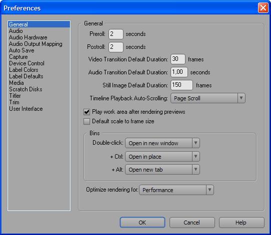 Настройки Adobe Premiere CS3, раздел General