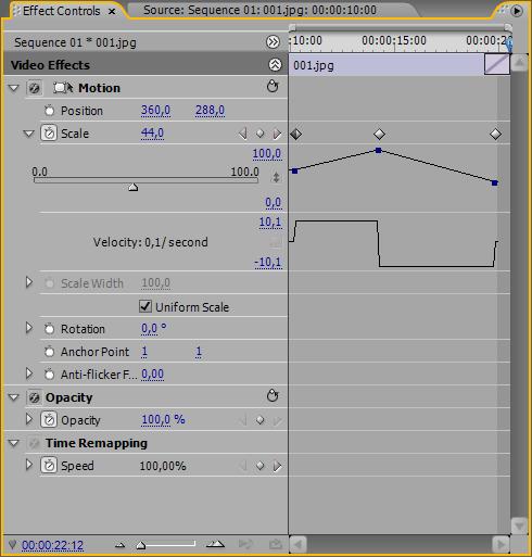 Управление эффектами показа слайдов в Adobe Premiere CS3