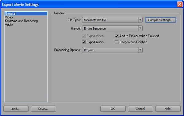 Экспорт проекта в Adobe Premiere CS3
